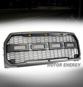 Honeycomb Mesh Gray Grille Grill W Amber Led Lamp For 15 16 17 F 150 F150 Pickup