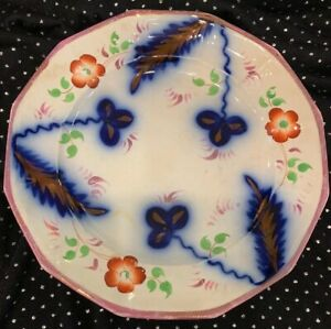 Rare Antique Gaudy Dutch English Ironstone Floral And Leaf Paneled 9 1 4 Plate