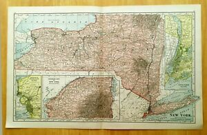Antique Map 1896 New York State 19 1 4 X 12 1 4 Original