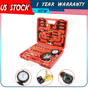 New Manometer Fuel Injection Pressure Tester Gauge Adapters System Tool Kit New