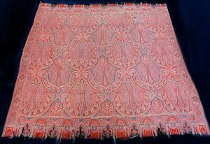Antique 19th Century French Wool Pailsey Shawl 64 X 64