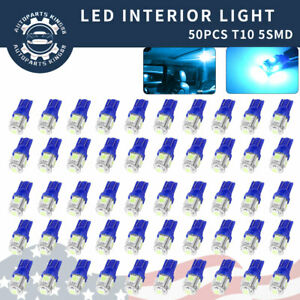 50x T10 Side Wedge 5050 5smd Led Map Door Dome Light Ice Blue Bulbs 158 2825 W5w