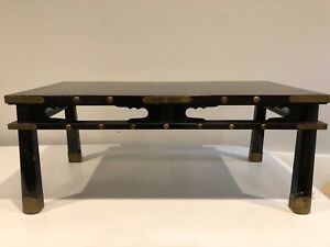 Asian Black Coffee Table With Brass Accents 39 1 2 X 19 3 4 X 16 High
