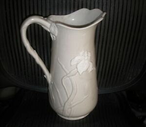 Incredibly Luxurious Iris Ceramic Pitcher Vase Art Nouveau Signed 11 In Gump S