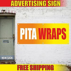 Pita Wraps Advertising Banner Vinyl Mesh Decal Sign Chicken Veggie Roll Fair Bbq