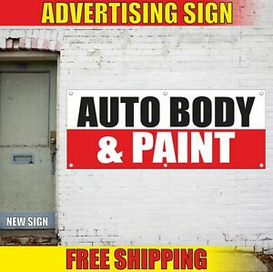 Auto Body Paint Advertising Banner Vinyl Mesh Decal Sign Car Shop Damage Repair
