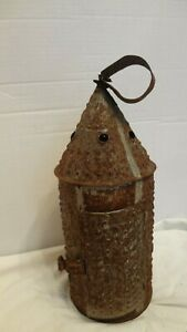 Early Antique Punched Pierced Tin Barn Candle Lantern Primitive Paul Revere