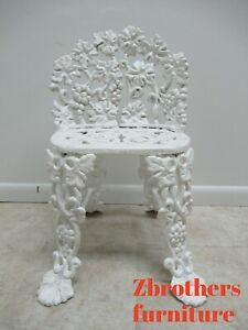 Antique Victorian Cast Iron Pierce Carved Garden Seat Bench Chair Grapes Vines A