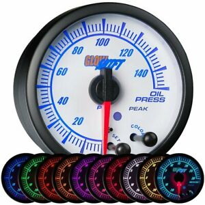 Glowshift 52mm Universal White Elite 10 Color Oil Pressure Gauge 0 150 Psi