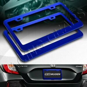 2 X Car Auto Metal License Plate Frame Holder Blue Aluminum Alloy Front Rear