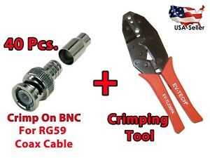 40x Crimp On Bnc Male And Professional Coaxial Bnc Crimping Tool For Rg59 Cables