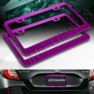 2pc Purple Aluminum Alloy Metal License Plate Frame Holder Cover Front