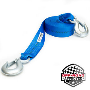 2 X 20 Heavy Duty Recovery Winch Tow Strap Hooks Webbing Rope Chain Towing