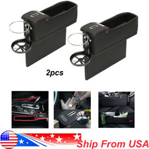 2x Car Seat Gap Storage Organizer Pu Leather Coin Collector Universal Left Right
