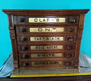 Clark S Ont Antique 6 Drawer Oak Spool Cabinet Rare Large Store Display Counter