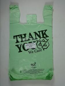 500 Qty Bio degradable Thank You Green Plastic T shirt Bags 11 5 X 6 X 21