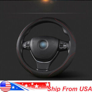 For 38cm 15 Pu Leather Car Steering Wheel Cover Black Red Non Slip Protector
