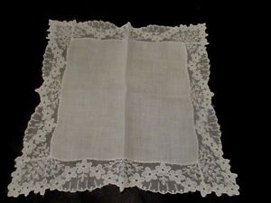 Vintage White Wedding Lace Linen Hanky 10 1 2