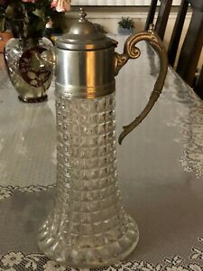 Antique Vintage Sterling Silver Cut Glass Pitcher