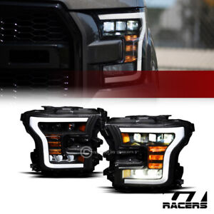 For 2015 2017 Ford F150 Black Full Led Sequential Tube Tri Projector Headlights