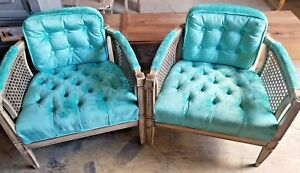 Beautiful French Provincial Ayers Furniture Tufted Turquoise Cane Accent Chairs