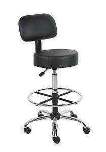 Boss Office Products B16245 bk Be Well Medical Spa Drafting Stool With Back Bl