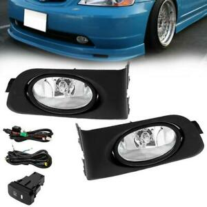 Fog Lights Wiring Switch And Bezels Clear Lens For 2001 2003 Honda Civic