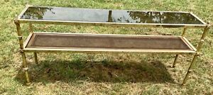 Vtg Chrome Glass Cane Console Entrance Sofa Table Hollywood Regency Mid Century