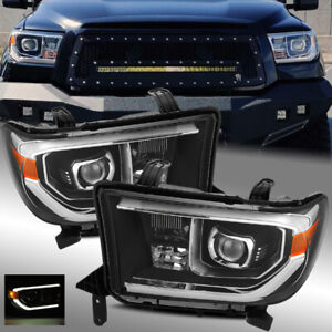 For 07 13 Toyota Tundra 08 17 Sequoia Trd Pro Look Black Projector Headlights