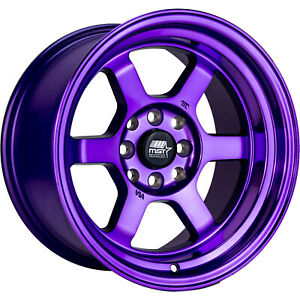 15x8 Purple Mst Time Attack Wheels 4x100 4x4 5 0 Fits Ford Mustang 4 Lug Only