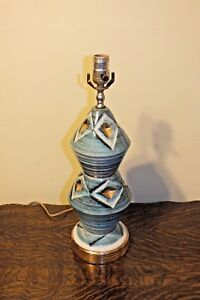 Vintage 50s Diamond Gold Muted Blue White Ceramic Lamp Atomic Mid Century Modern