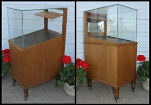 Vintage Sheaffers Glass Fountain Pen Pencil Oak Store Display Case Cabinet Old
