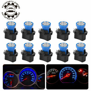 10x Blue T10 Led Bulb Instrument Panel Cluster Dash Light Twist Lock Sockets