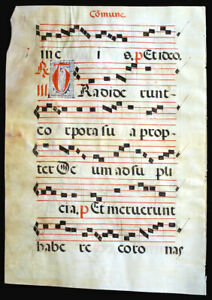 Large Illuminated Manuscript Leaf C 1550 Music Gregorian Chant Large Initials