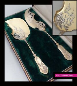 Antique 1880s French Sterling Solid Silver Vermeil 18k Gold Ice Cream Set 2pc