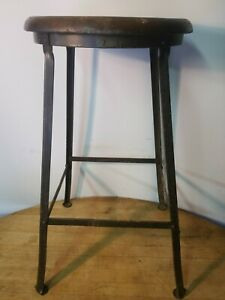 Vintage Industrial Metal Tall Stool Wood Seat Early 1900s Steampunk Art Deco