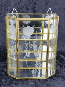 Vtg Brass Glass Table Top Wall Curio Cabinet Display Shelf Case Mirror Back