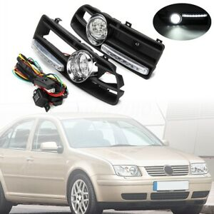 Bumper Grille Grill Driving Fog Lamp Lights With Led For Vw Jetta Bora Mk4