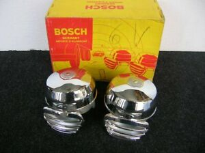 Bosch Chrome Fanfare Horns Porsche 356 Vw Beetle Bug Mercedes Accessory 6v Nos