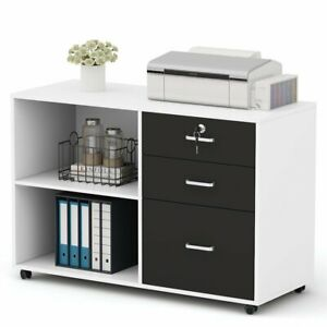 Modern Lateral File Cabinets With Wheels 3 Drawers Open Storage Shelves Cabinet