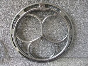 Double Antique Cast Iron Fly Wheel Pulley Industrial 13 1 2