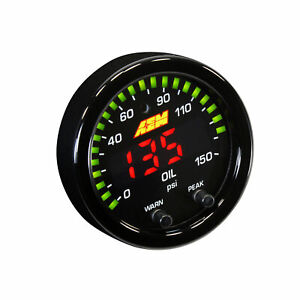 Aem 30 0307 52mm X Series Digital Led Oil Pressure Gauge 0 150psi 10bar Black