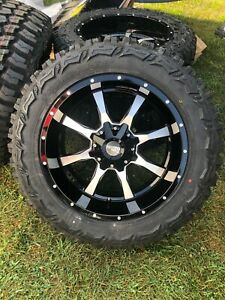 20x10 Black Moto Metal Mo970 33 Mt Wheels Rims Tires 8x180 Chevy Silverado 2500