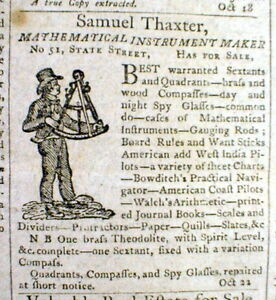 Original 1806 Newspaper W An Illustrated Ad For A Maritime Navigational Sextant