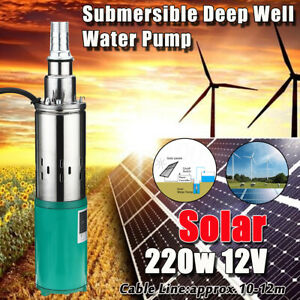 Us 220w 12v 1 2m Electric Solar Deep Well Water Pump Submersible Bore Hole