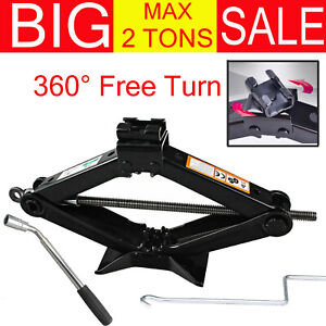 2 Ton Mini Portable Scissor Jack Car Van Vehicles Stand Tire Tool With Handle