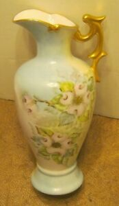 Hand Painted Antique Porcelain Pitcher Dogwood Blossoms Signed Stossick