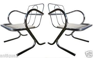 Pair Modern Knoll Eames Style Round Bar Chrome Cantelever Lounge Arm Chairs