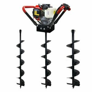 55cc 2 Stroke Gas Post Hole Digger V type Auger With 3 bits 4 6 10 Bits