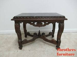 Antique French Carved Regency Marble Top Gothic Lamp End Table